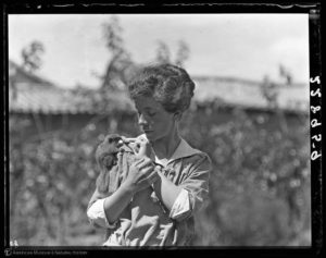 "Yvette Borup Andrews with squirrel, China, September 20, 1916,"" Research Library 